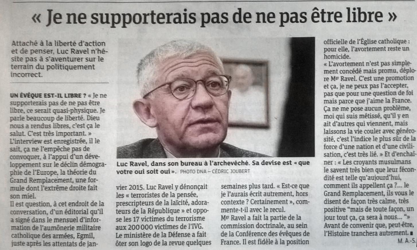 Mgr Luc Ravel, archevêque de Strasbourg, dénonce «le Grand remplacement» lié aux avortements