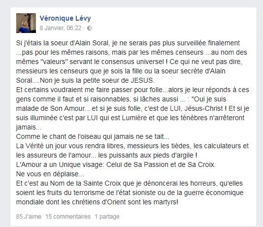 Véronique Lévy au sujet de son frère BHL, d'Alain Soral, des chrétiens d'Orient et du Christ