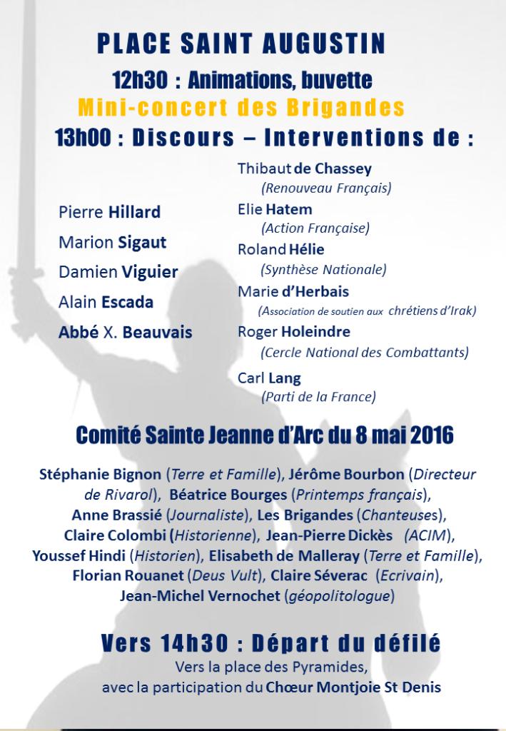 Les capucins de Morgon appellent à rejoindre CIVITAS le 8 mai 2016 en l'honneur de Ste Jeanne d'Arc