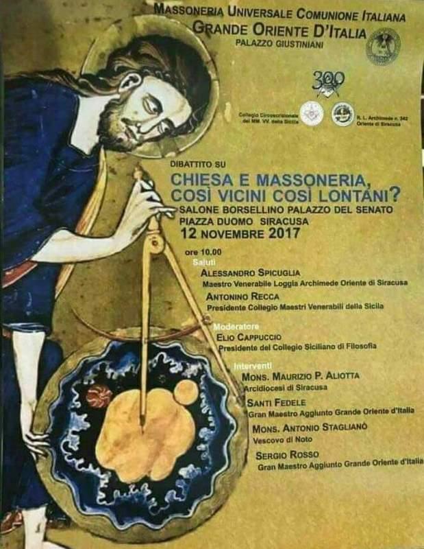 Mgr Stagliano et Mgr Aliotta parmi les intervenants d'une réunion maçonnique organisée par le Grand Orient d'Italie
