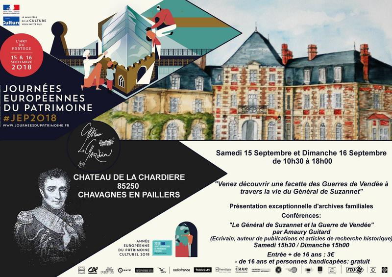 15 & 16 septembre 2018 au Château de la Chardière – Le général de Suzannet et la Guerre de Vendée