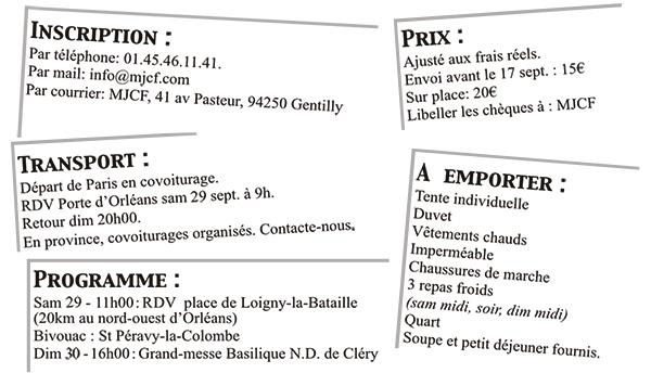 29 & 30 septembre 2018 – Pèlerinage étudiant de Loigny-la-Bataille à Cléry