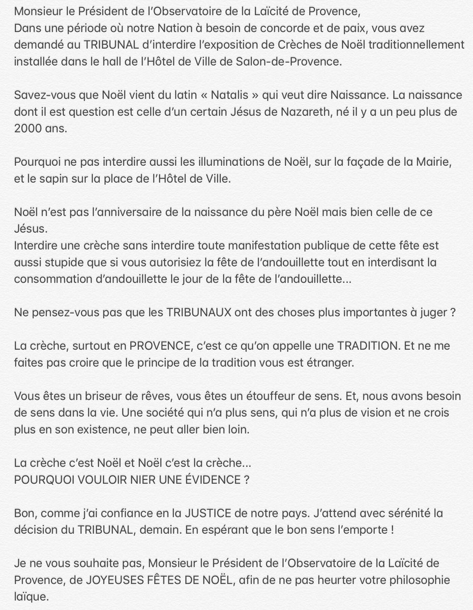 Les laïcistes veulent faire interdire l'exposition de Crèches de Noël de Salon-de-Provence