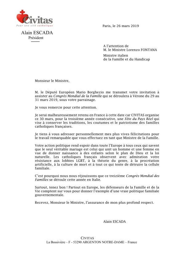 Le ministre italien de la Famille invite Civitas au Congrès Mondial de la Famille
