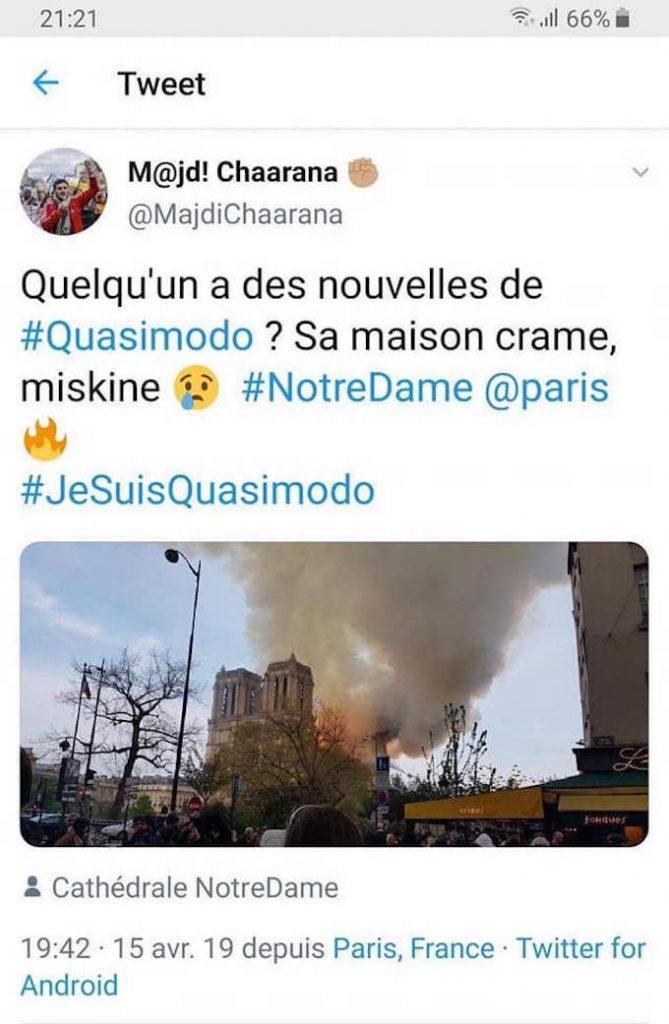 Madji Chaarana, responsable de l'UNEF, se moque de l'incendie à Notre-Dame de Paris