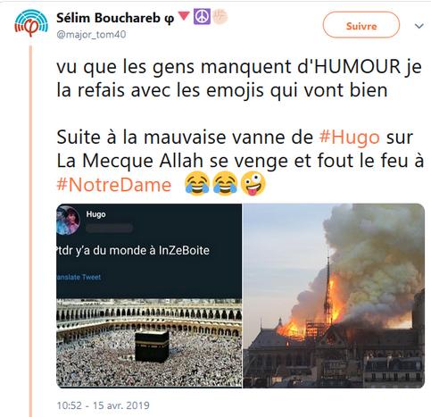 Sélim Bouchareb (France Insoumise) se moque de l'incendie qui a dévasté Notre-Dame de Paris