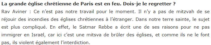 L'antichristianisme d'un rabbin à propos de l'incendie de Notre-Dame de Paris