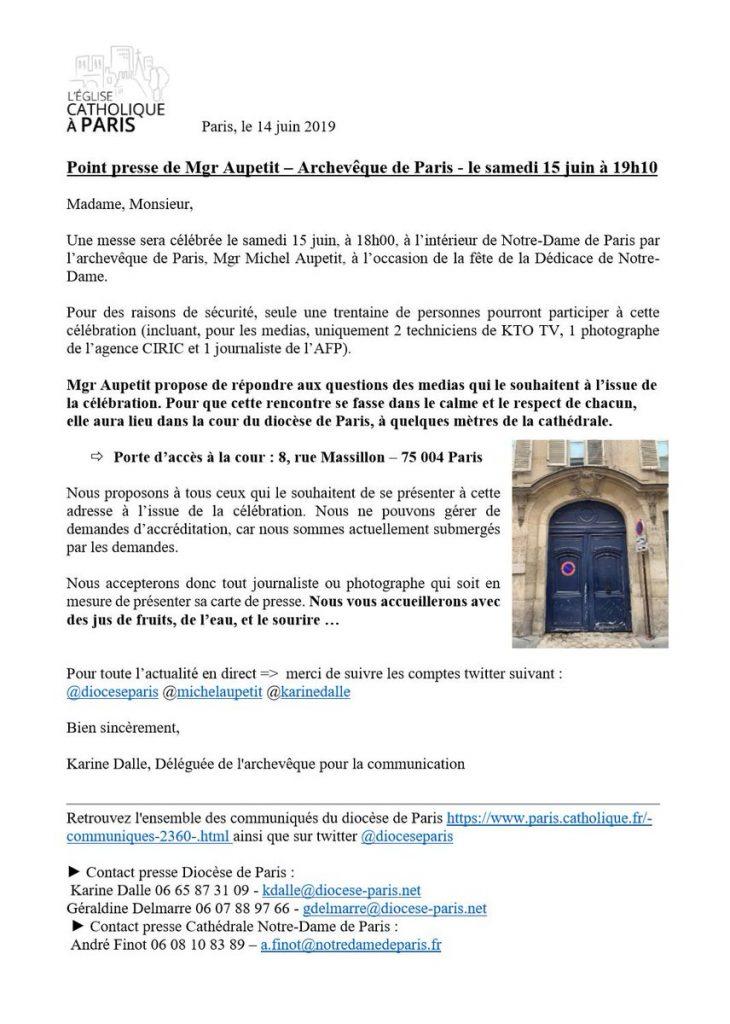 Communication syncrétiste pour la première messe à Notre-Dame de Paris depuis l'incendie
