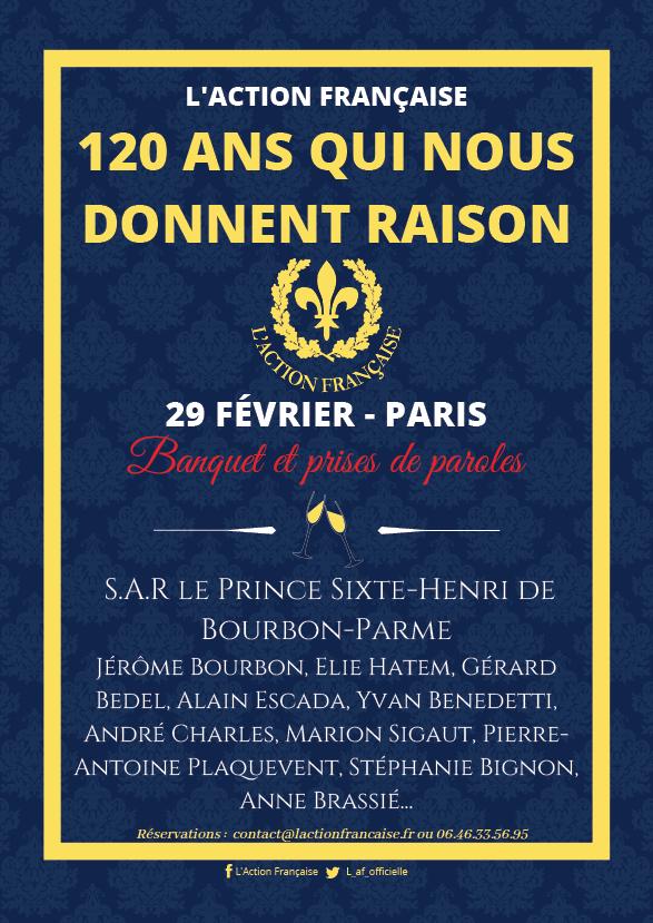 29 février 2020 à Paris – Alain Escada interviendra au banquet des 120 ans de l'Action française