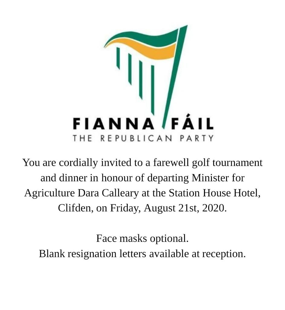 Covid19 et Golfgate en Irlande : Politiciens, diplomates, juges, se sont offerts une soirée interdite à leur peuple