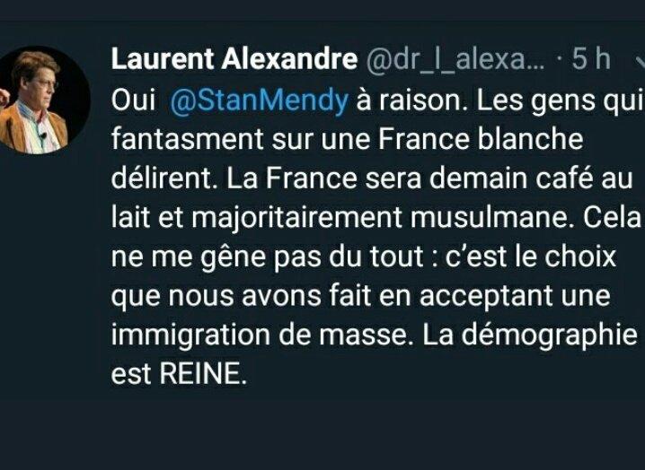 Laurent Alexandre se réjouit du grand remplacement, lui qui avait déjà écrit que la France sera demain café au lait et musulmane