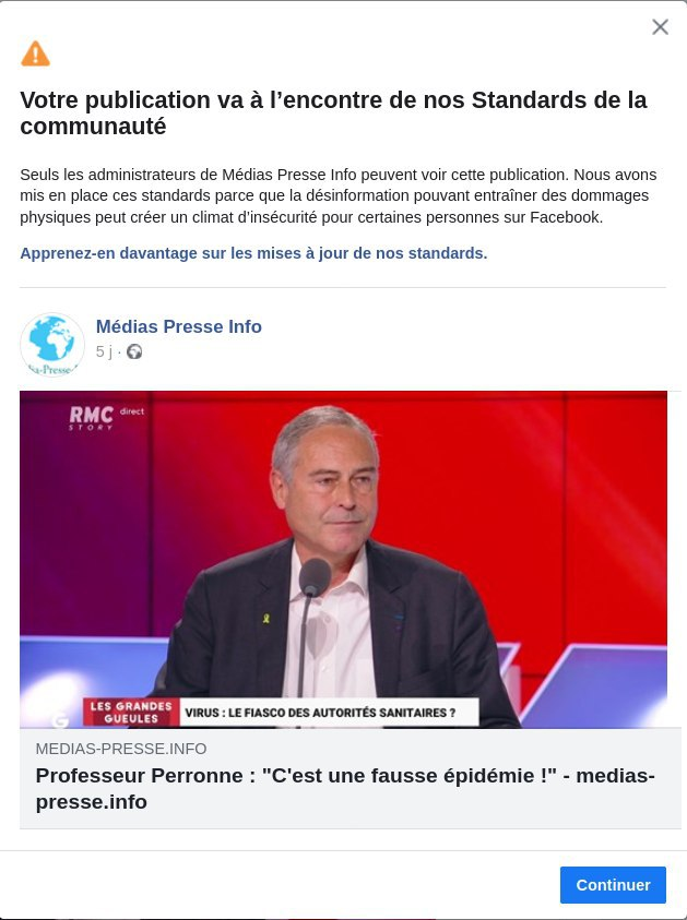 Facebook s'acharne contre Medias Presse Info pour avoir relayé le Professeur Perronne