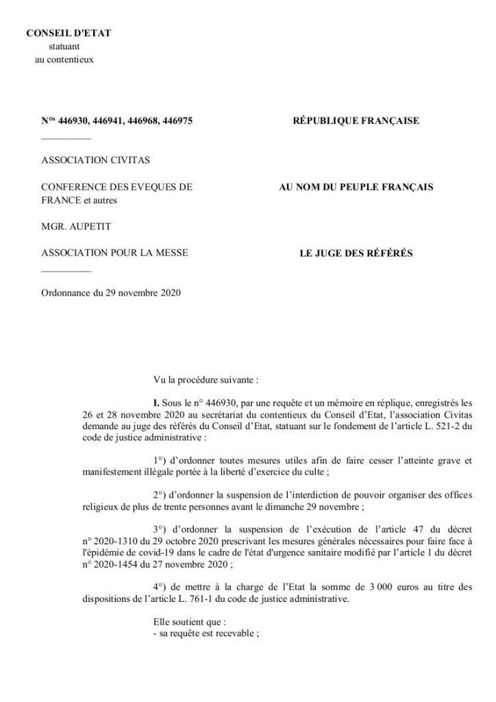Messe et Conseil d'Etat : Civitas et les évêques font éclater la jauge des 30 personnes