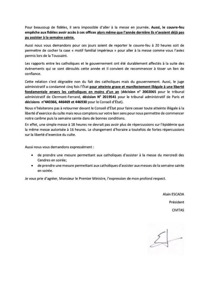 Civitas réclame au Premier ministre une dérogation au couvre-feu de 18h pour l'exercice effectif du culte pour le mercredi des Cendres et pendant la Semaine Sainte