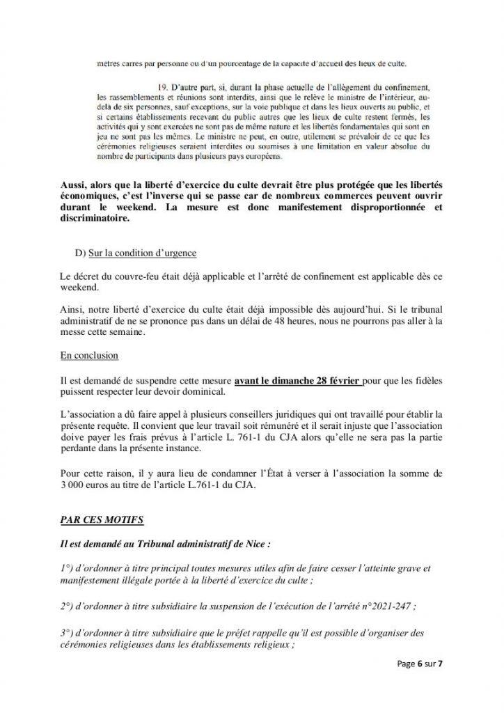 Le reconfinement à Nice relance la bataille pour la Messe à nouveau localement interdite le dimanche dans les lieux de culte