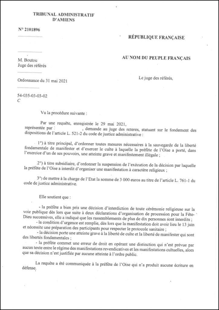 L'Etat condamné pour avoir interdit la procession de la fête Dieu dans l'Oise
