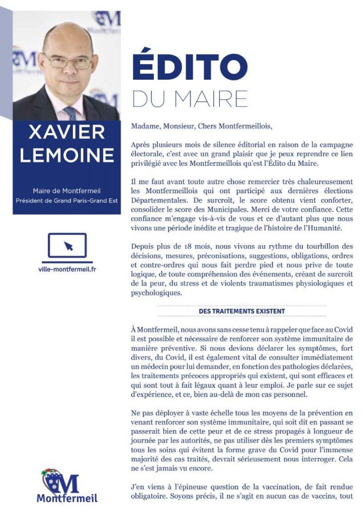 Covid, traitements et vaccins : l'éditorial de Xavier Lemoine, Maire de Montfermeil, qui irrite la presse aux ordres de la dictature sanitaire